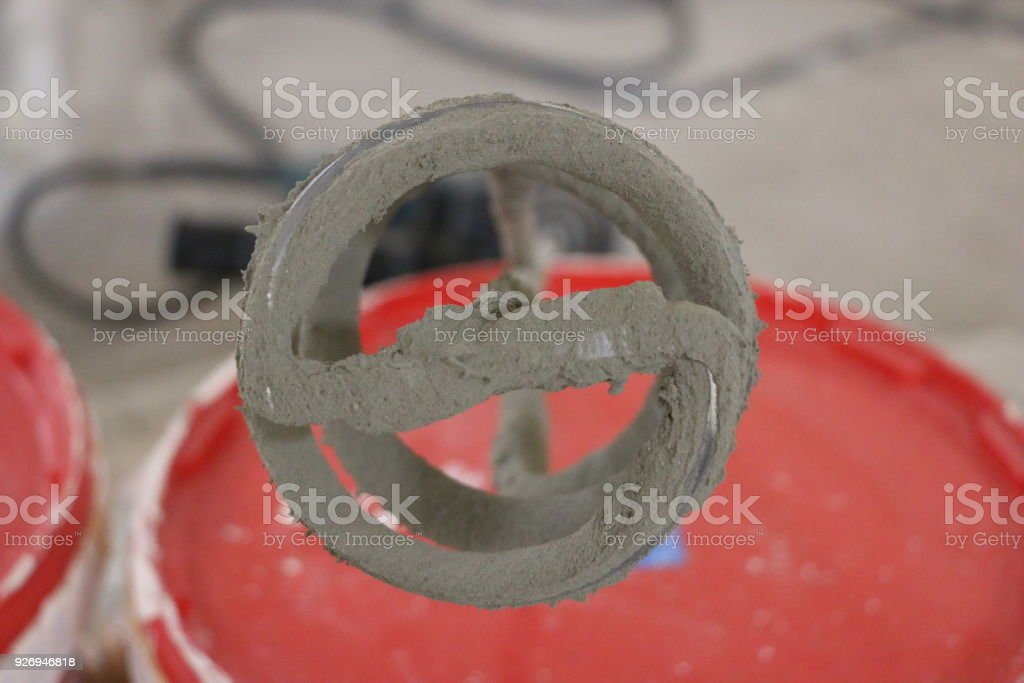 mixer for plaster stock photo