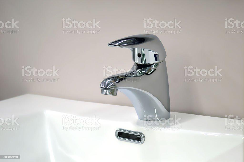 Mixer polished metal sink stock photo
