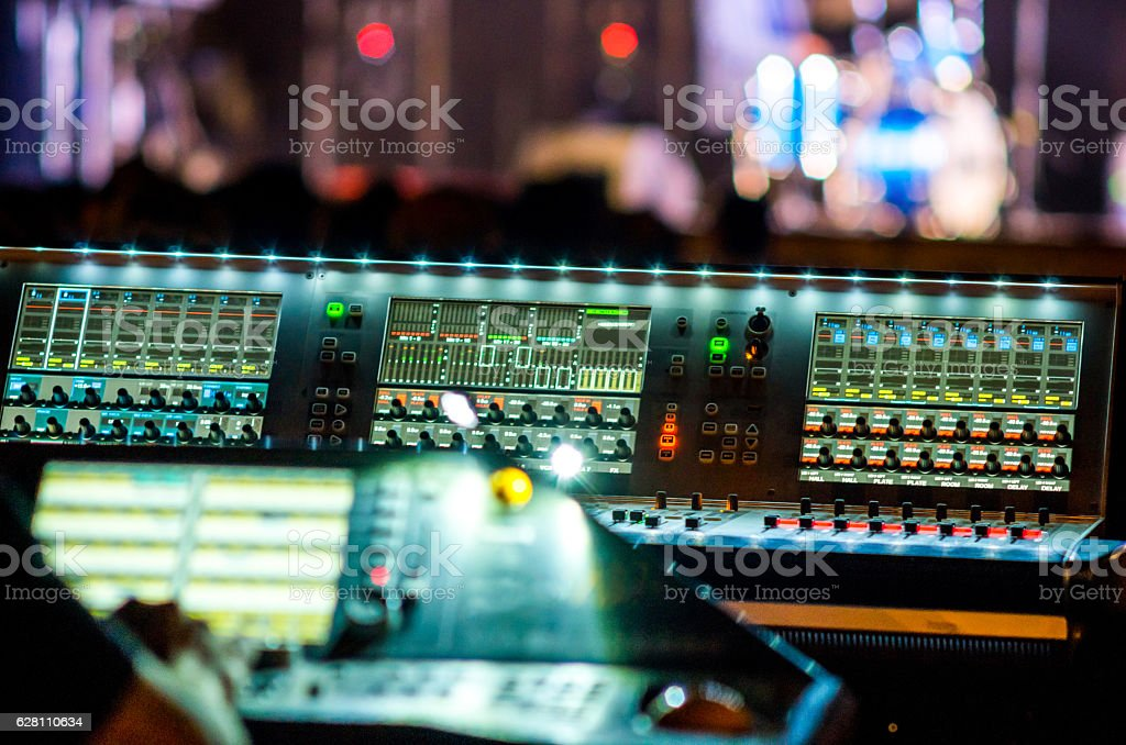 mixer table music concert bokeh live illuminated stock photo