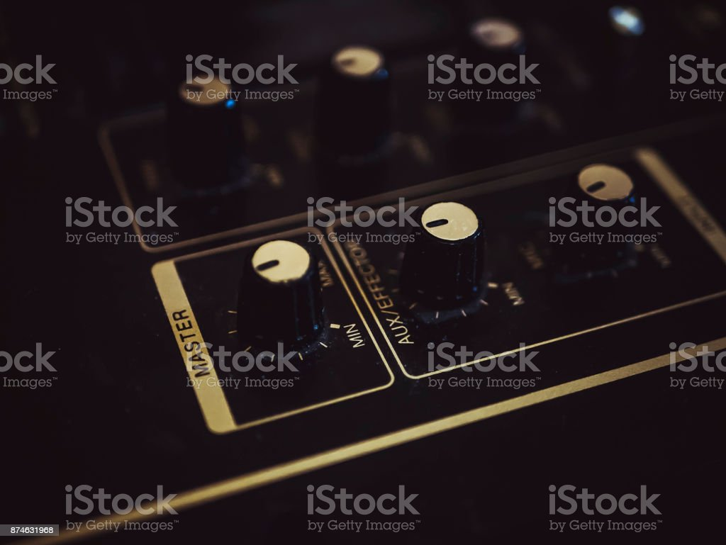 mixer vinyl record turntable knob fader stock photo