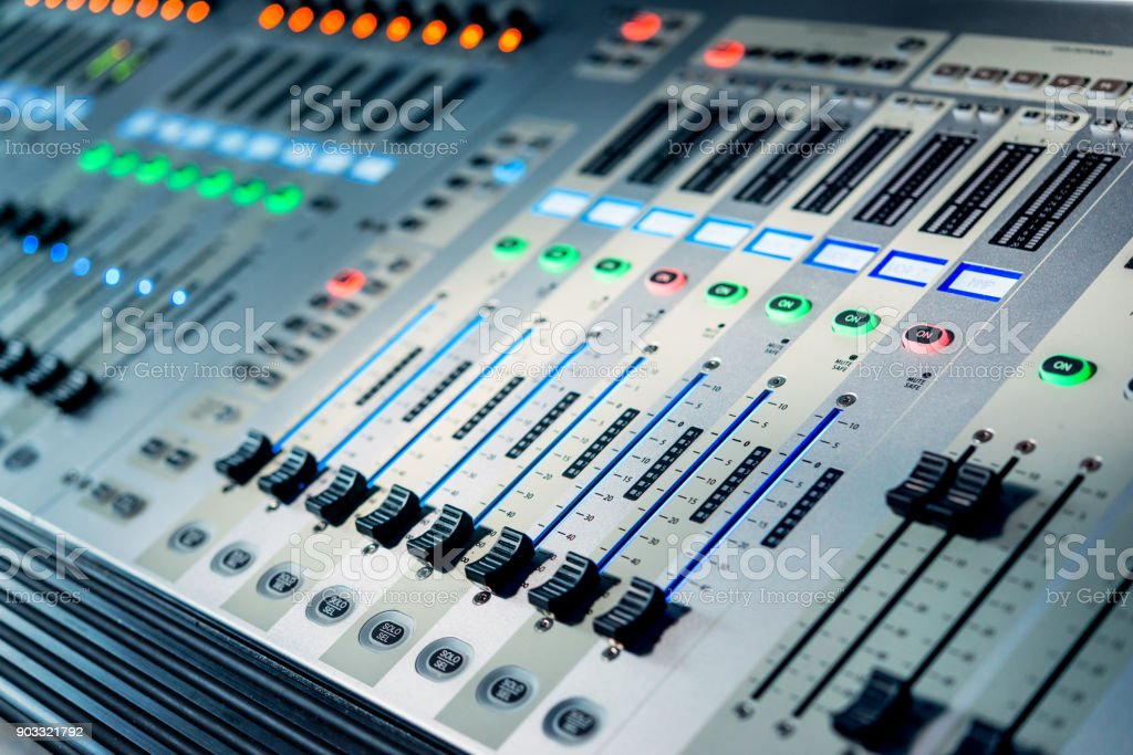 Mixers on the remote control in the television studio stock photo