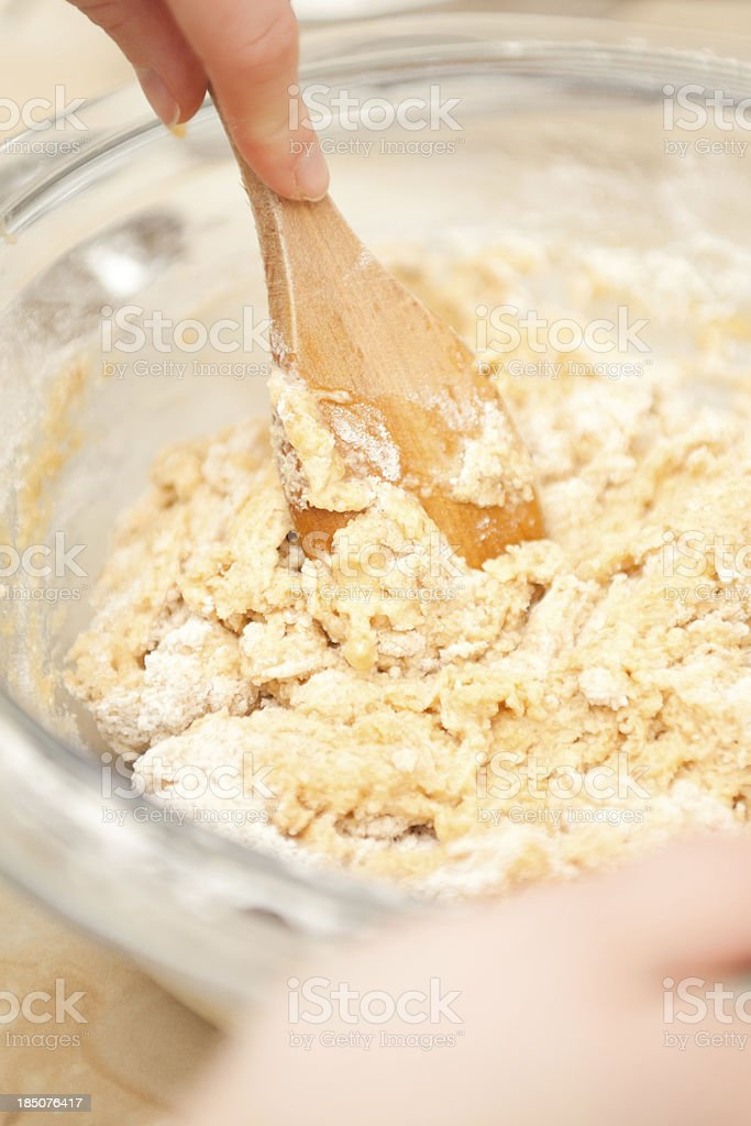 Mixing Biscuit Dough royalty-free stock photo