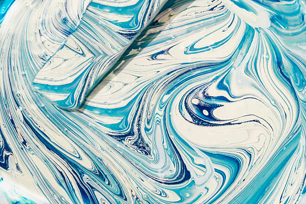 Mixing blue color stock photo