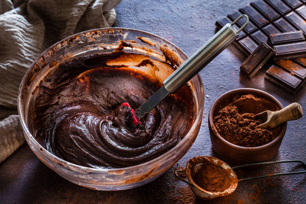 Mixing bowl filled with homemade chocolate  dough stock photo
