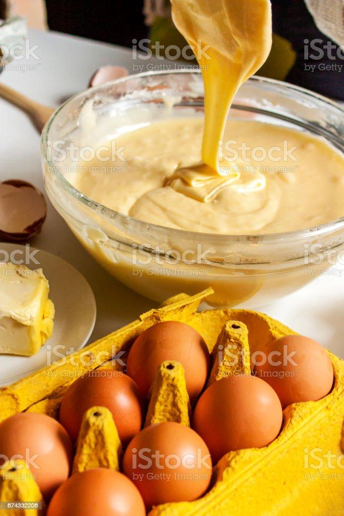 Mixing cake mixture stock photo