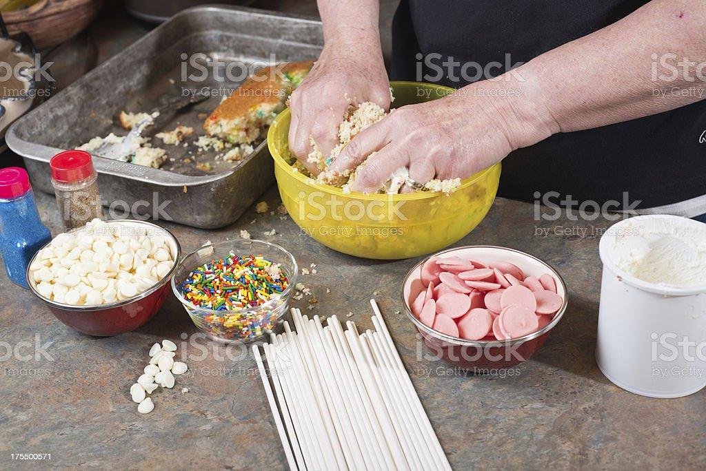 Mixing Cake Pops royalty-free stock photo