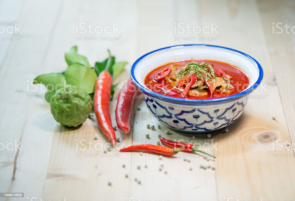 mixing herb fresh vegetable and chili sauce stock photo