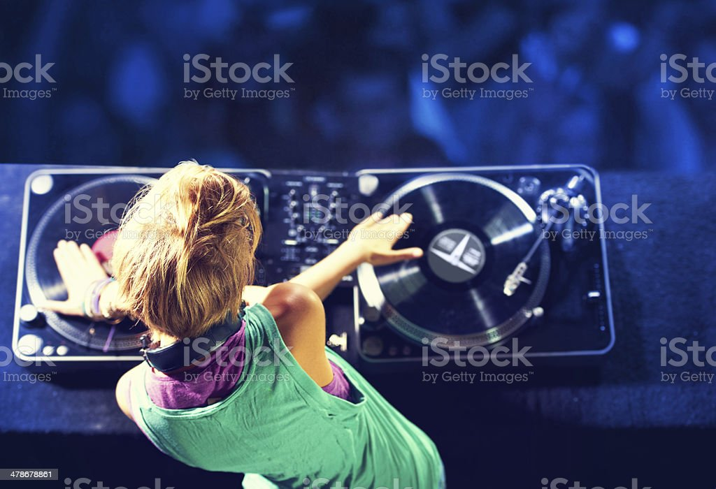 Mixing it up for the crowd stock photo