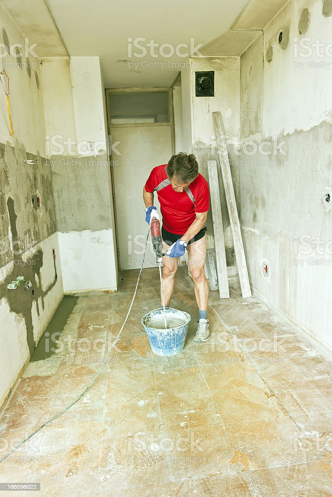 Mixing Mortar During Home Additon royalty-free stock photo