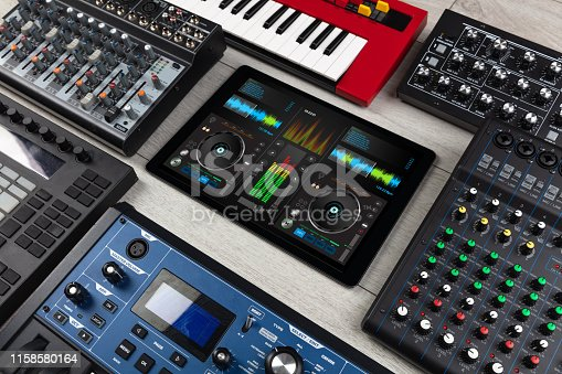 istock Mixing music and instruments concept 1158580164