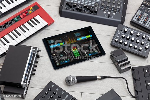 istock Mixing music and instruments concept 1202244278