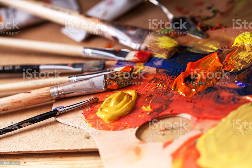 Mixing paint color.Art. stock photo