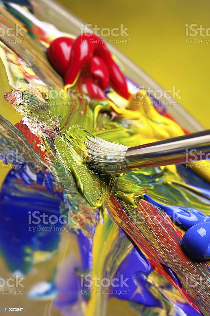 Mixing paint stock photo