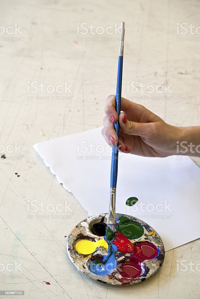 Mixing Paints royalty-free stock photo