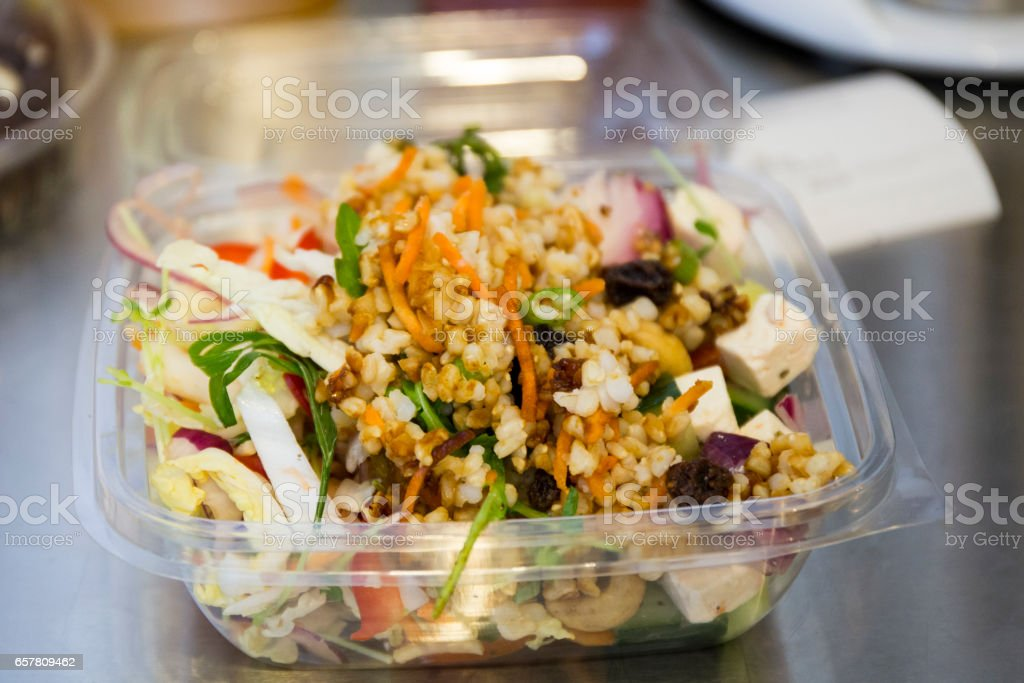 Mixing salad stock photo