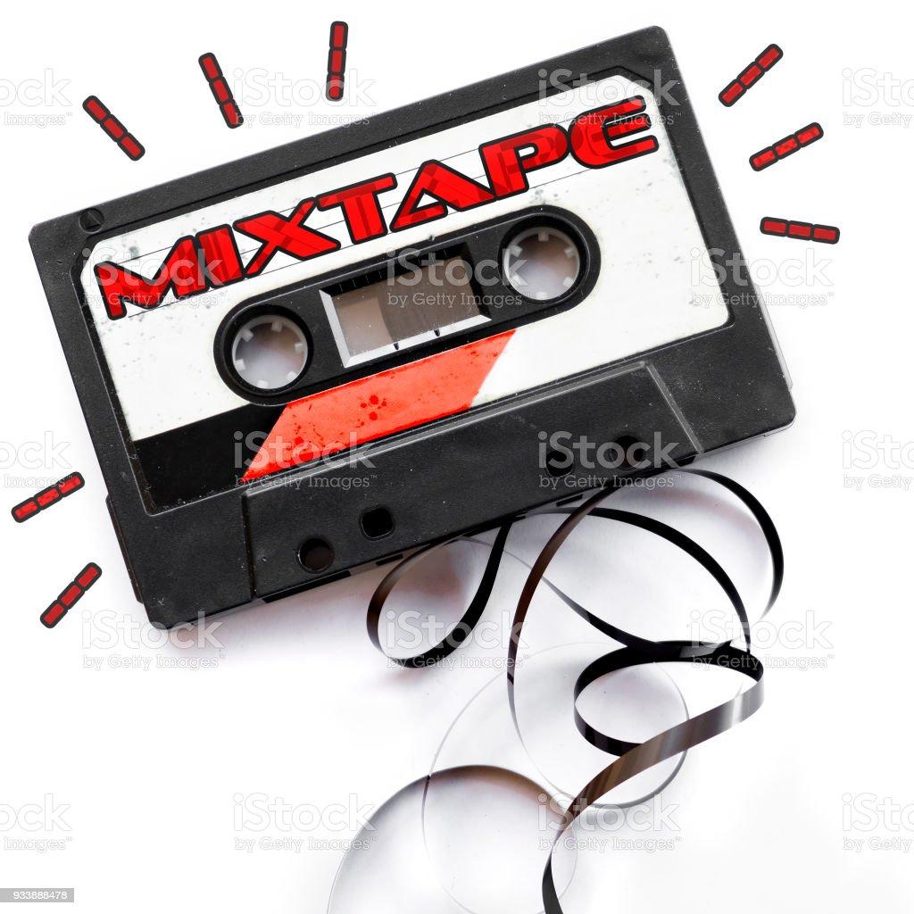 mixtape audio tape label stock photo