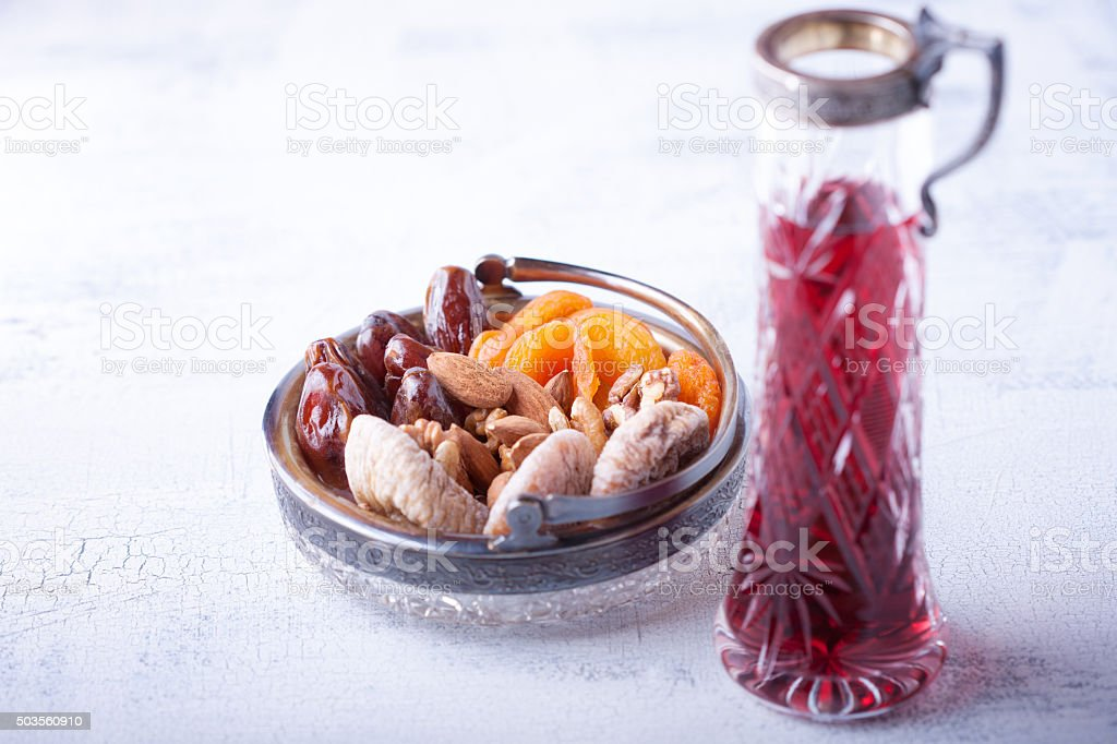 Mixture of dried fruits and nuts stock photo