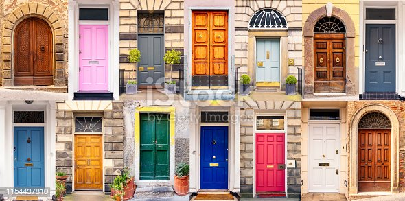 A diverse and multi-coloured mixed collection of doors to apartment buildings and churches from several European locations.