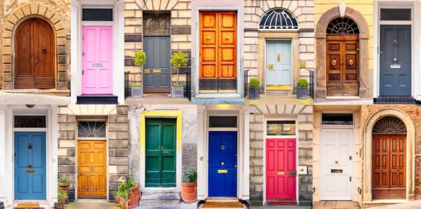 mieszanka drzwi europejskich w różnych stylach - duża grupa obiektów zdjęcia i obrazy z banku zdjęć