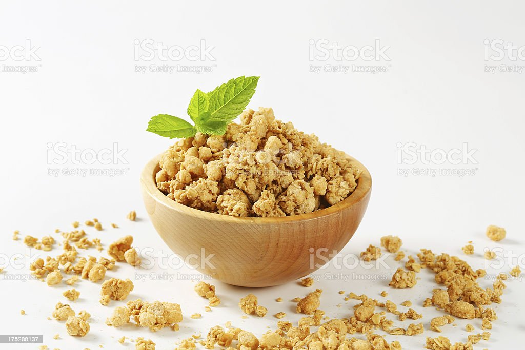 Mixture of nuts in a wooden bowl royalty-free stock photo
