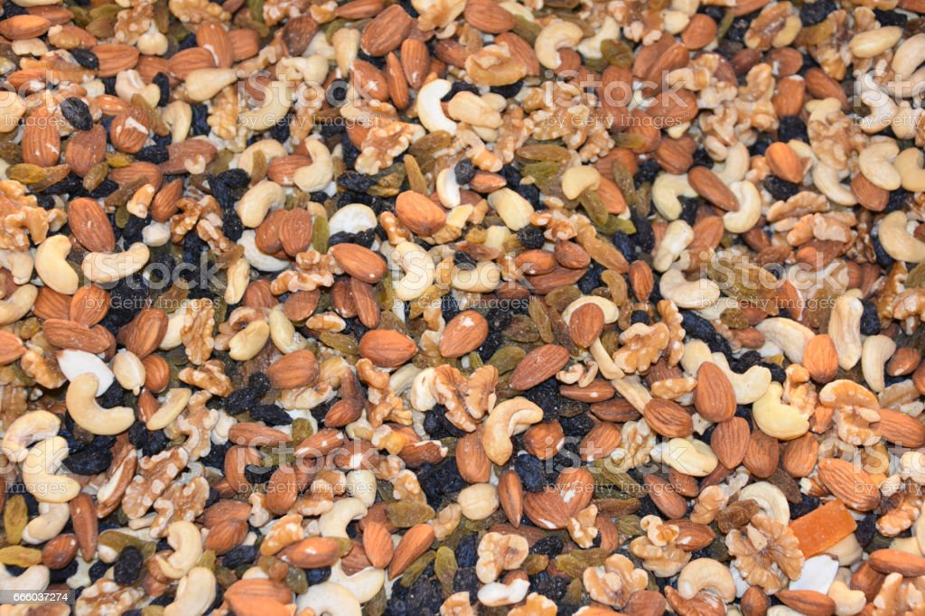 mixture of nuts in the store