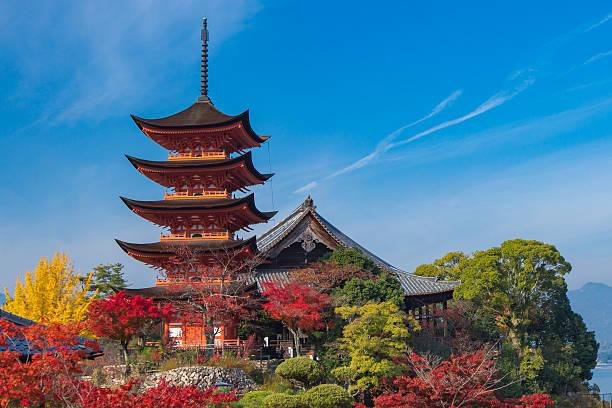 Miyajima in autumn Hatsukaichi, Hiroshima Prefecture, Japan - November 21, 2014: Five-story pagoda in the autumn, a UNESCO World Heritage Site Itsukushima Shrine. miyajima stock pictures, royalty-free photos & images
