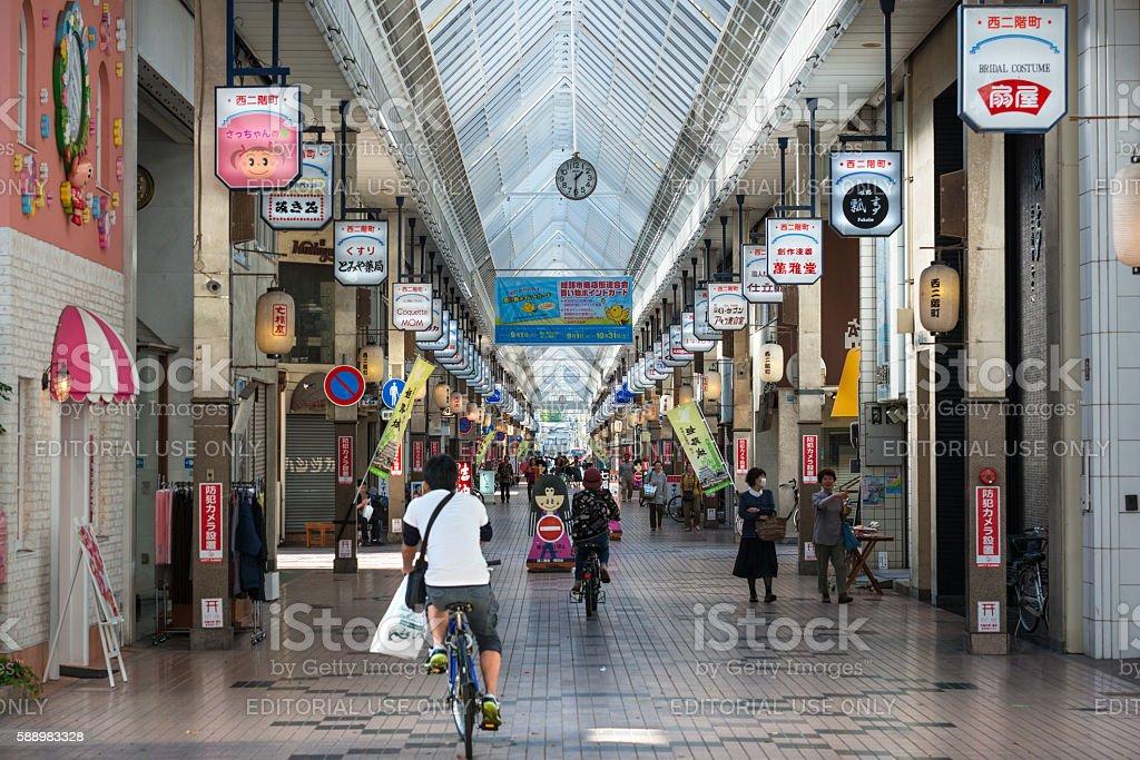 Miyuki-dori shopping arcade in Himeji, Japan stock photo