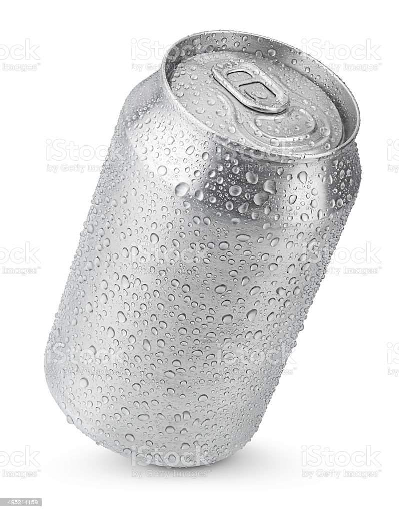 330 ml aluminum can with water drops stock photo