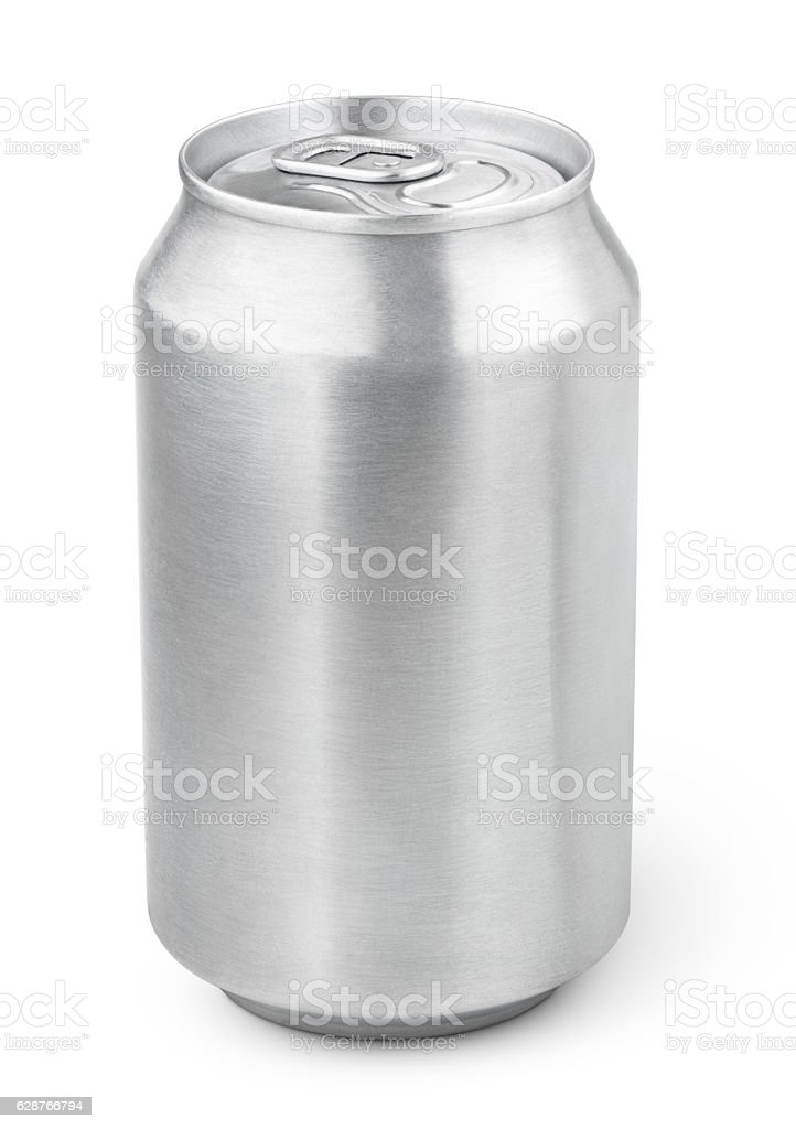 330 ml aluminum soda can stock photo