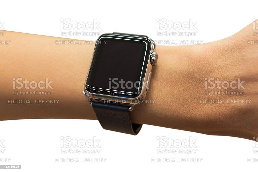 APPLE WATCH 38 mm Stainless Steel with Black Leather Band stock photo