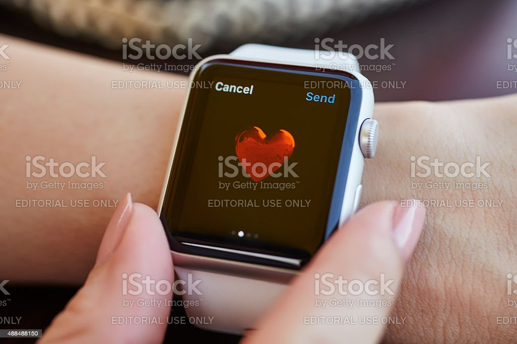APPLE WATCH 42 mm Stainless Steel with White Sport Band stock photo