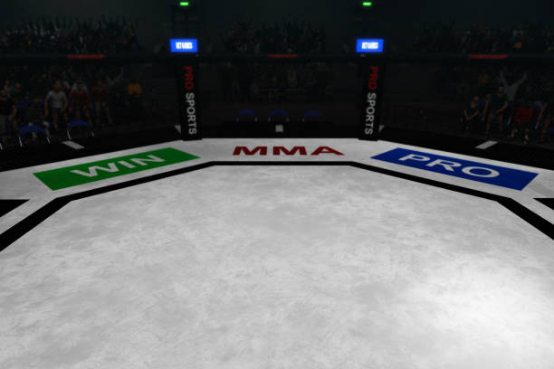 mma fighting octagon stage 3d render stock photo