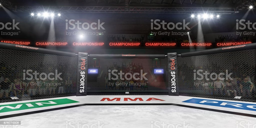 mma fighting stage side view under lights 3d rendering stock photo