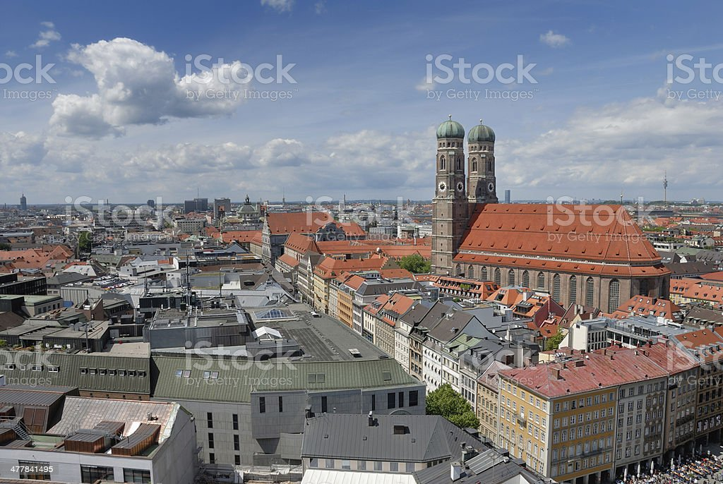 München Munich Skyline, Frauenkirche stock photo