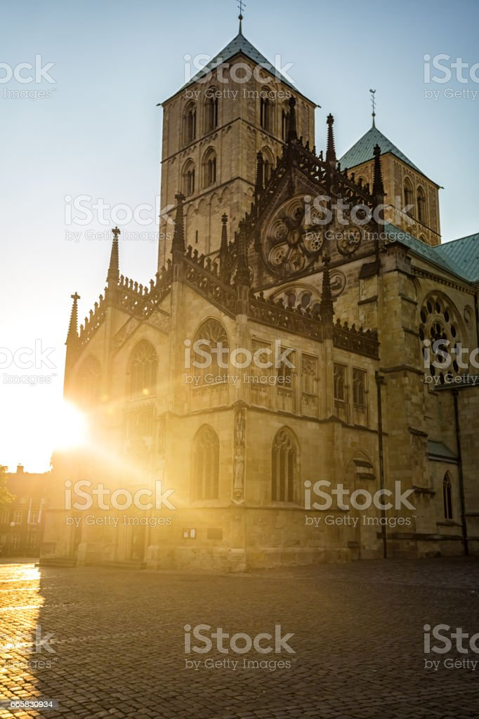 Münster Dom with sunlight stock photo
