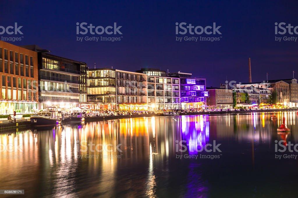 Münster harbor at night (Nordrhein Westfalen) stock photo