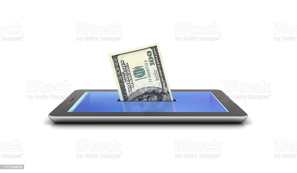 mo and tablet making money royalty-free stock photo