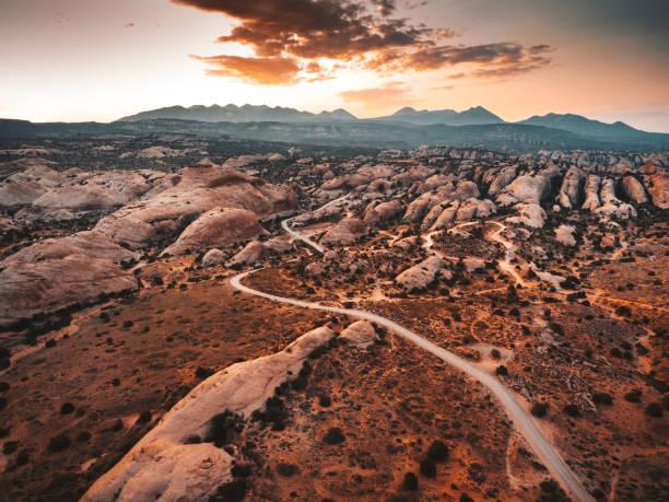 vista aérea de Moab al atardecer - foto de stock