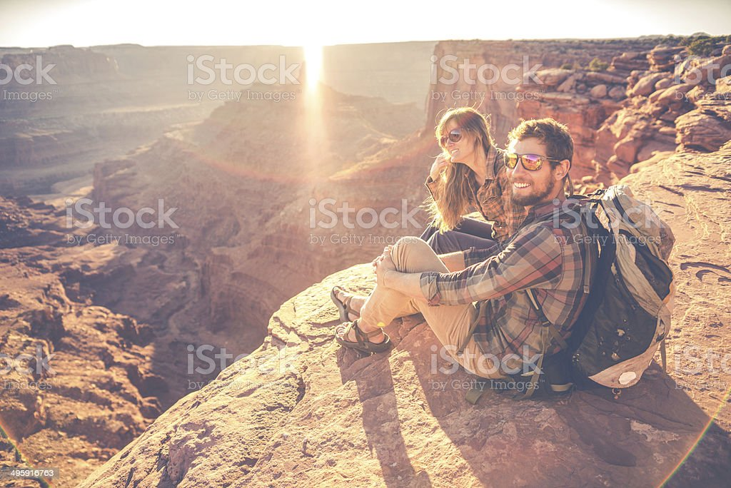 Moab Hiking Couple stock photo