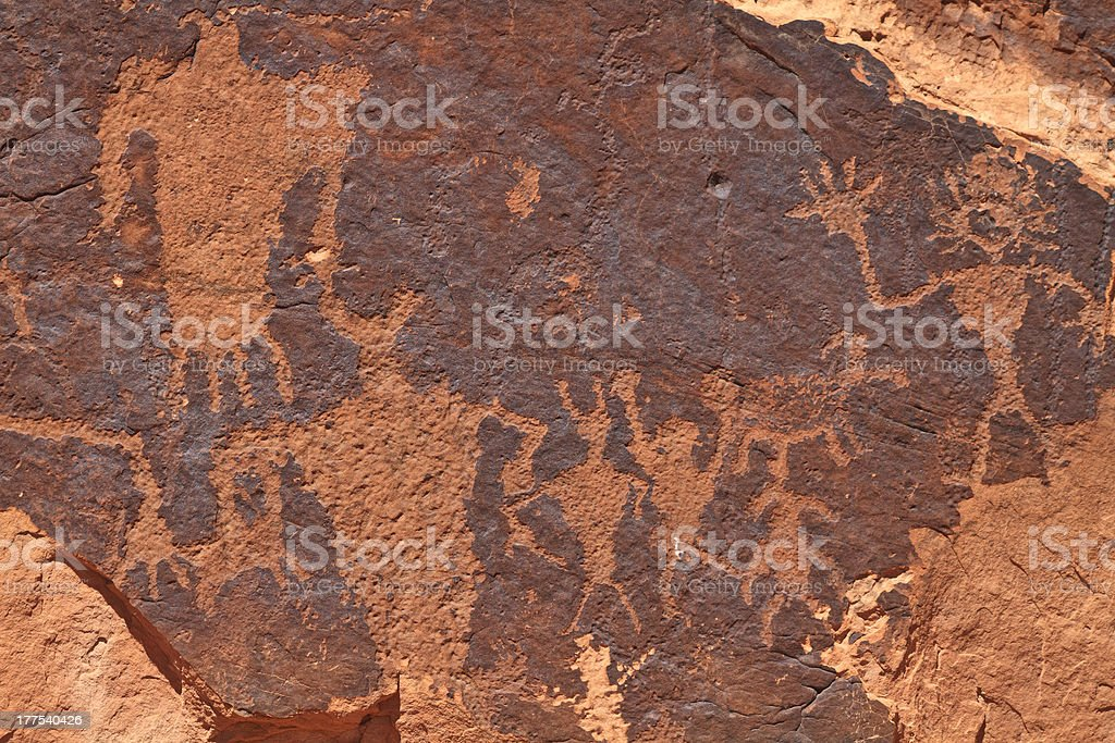Moab Rock Art Panel Closeup stock photo