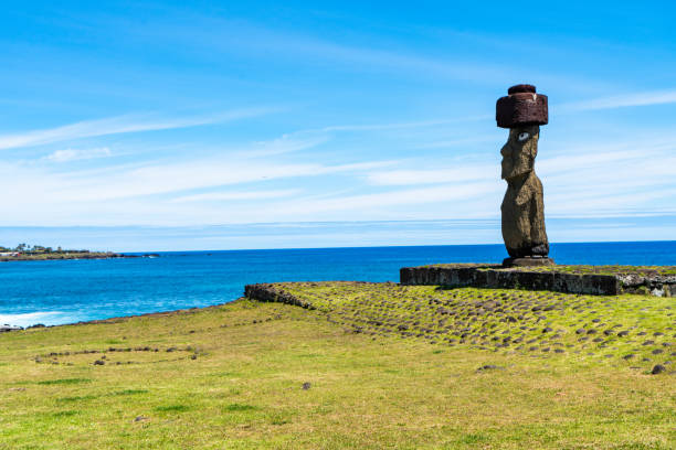 Moai at Ahu Ko Te Riku - Easter Island, Chile stock photo