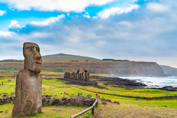 Moai at Ahu Tongariki, Easter Island, Chile stock photo