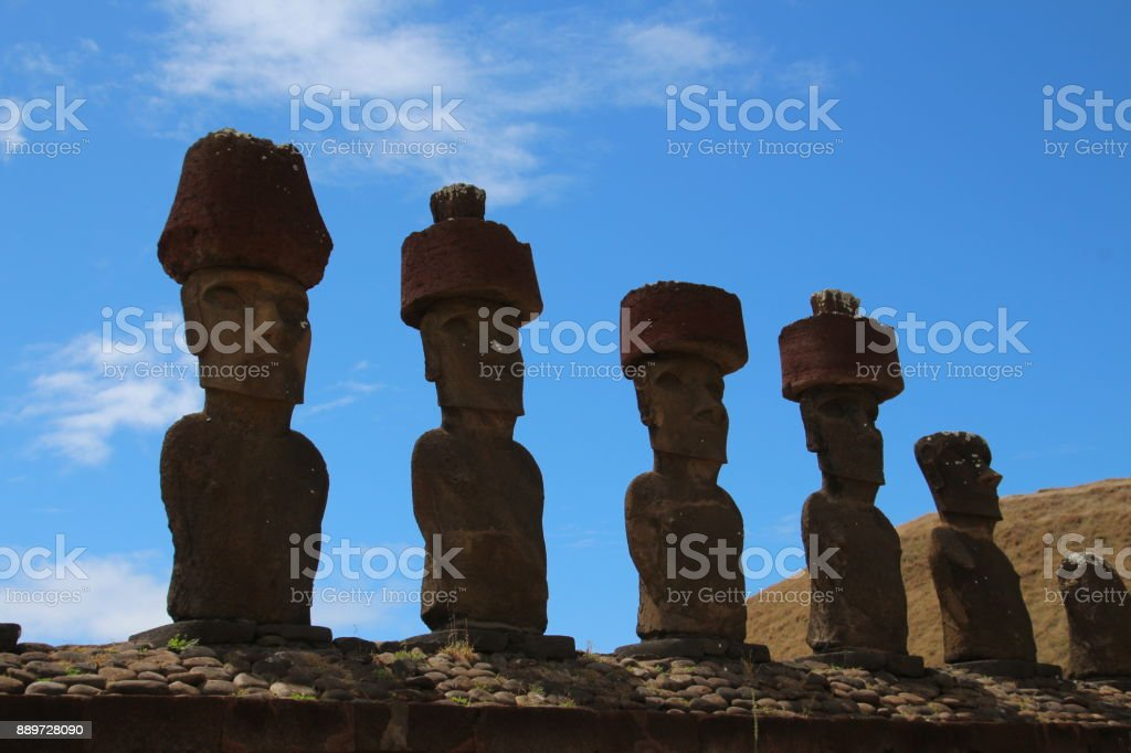 Moai - Easter Island - Ahu Nau Nau stock photo