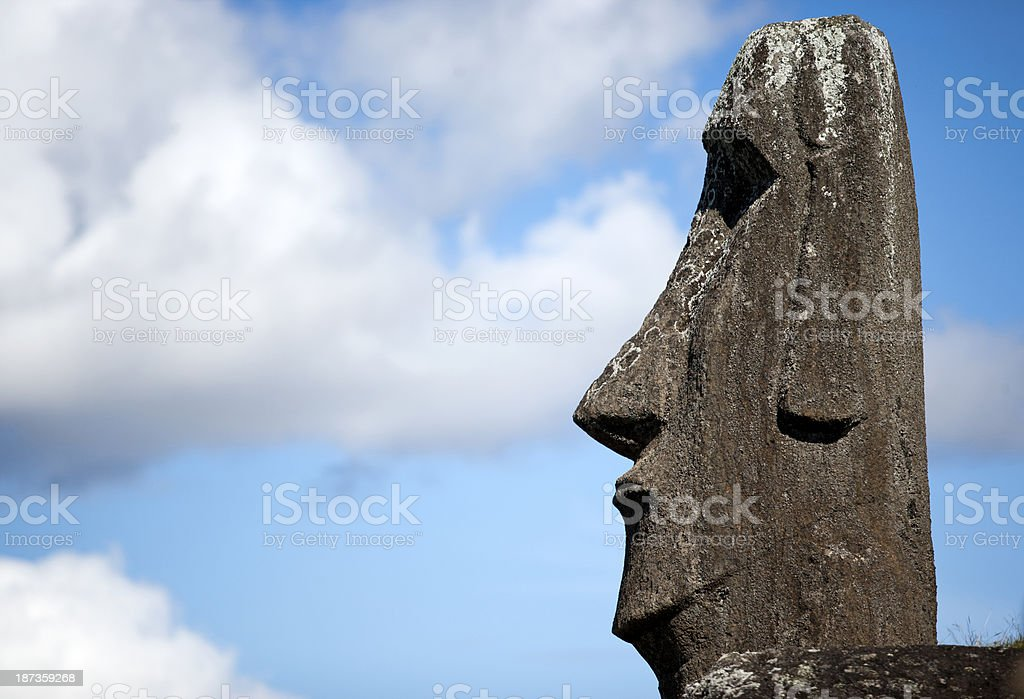 Moai Face and Cloudes royalty-free stock photo