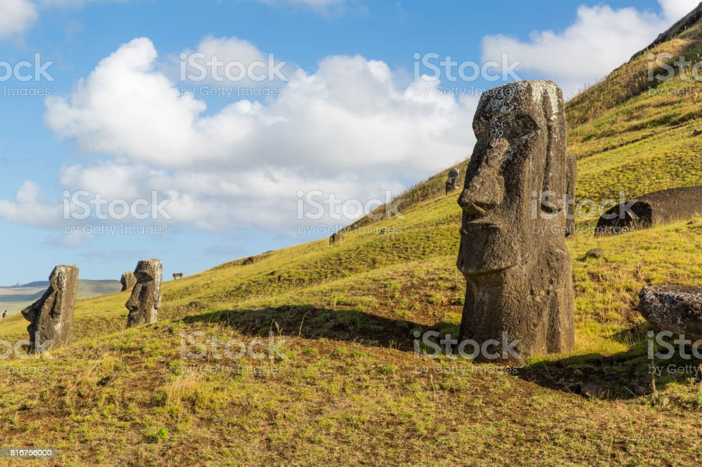 Moai statue at Rano Raraku, Easter Island, Chile stock photo