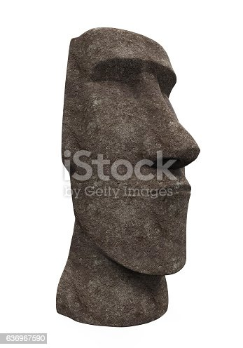 Moai Statue isolated on white background. 3D render