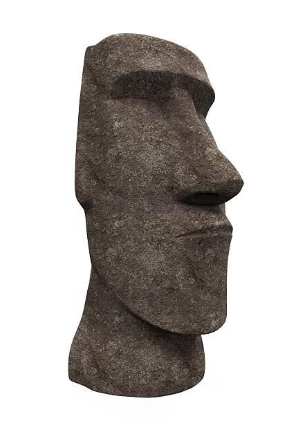 moai statue isoliert - osterinsel stock-fotos und bilder