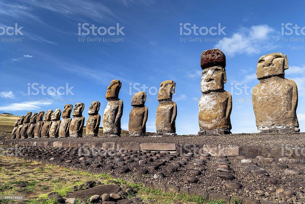 Moai statues at Ahu Tongariki, Easter Island (Rapa Nui), Chile. stock photo