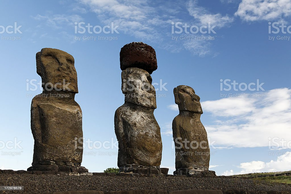 Moai statues Easter Island royalty-free stock photo