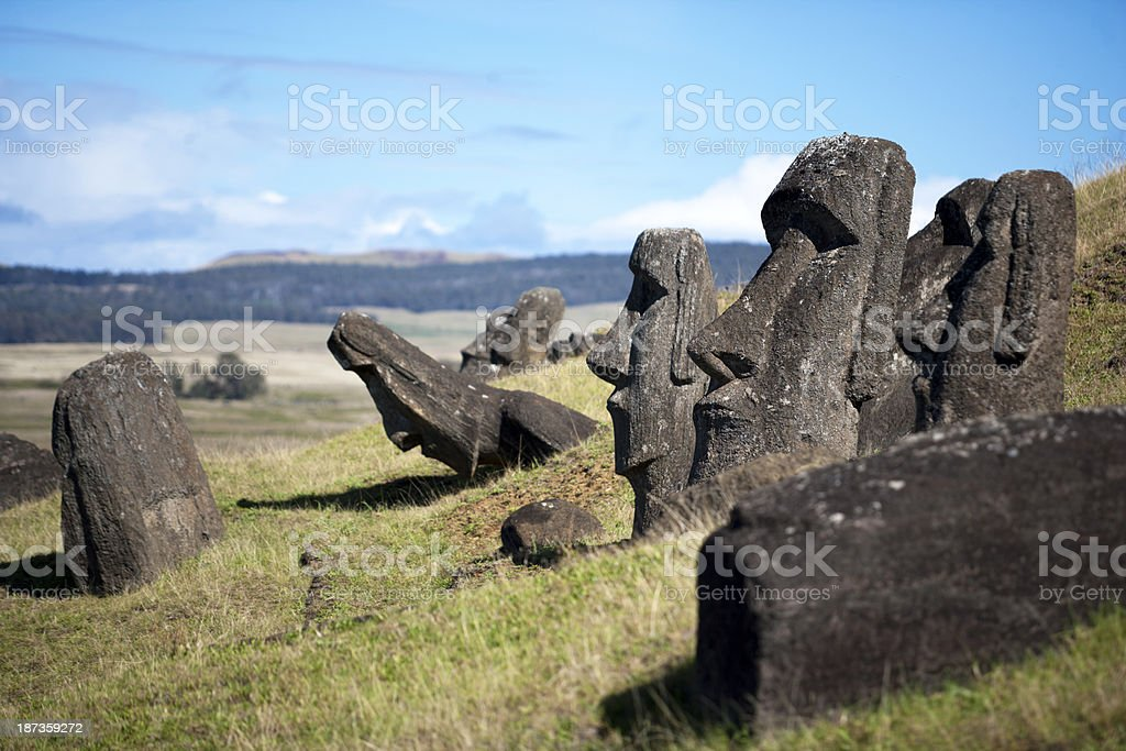 Moai Statues in Rano Raraku royalty-free stock photo